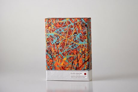 Pollock Artistry custom playing cards front view of deck sleeve.