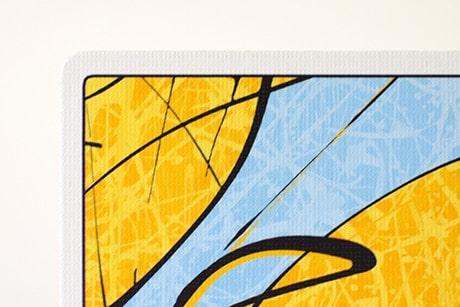 Pollock Cardistry custom playing cards closeup view of card texture.