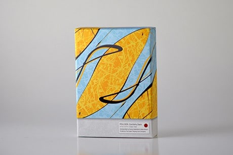 Pollock Cardistry custom playing cards yellow and blue art design on deck sleeve.