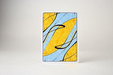 Pollock Cardistry custom playing cards single card art design yellow and blue art.